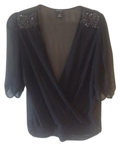 Club Monaco Embellished Top Black