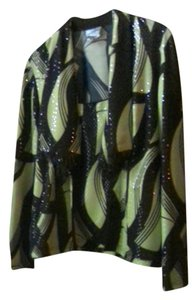 Joseph Ribkoff Top Jacket with black an neon green sequence fabric