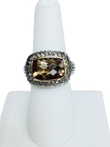 D Chabbott Topaz, Diamond, Sterling Silver, 14K Gold Ring