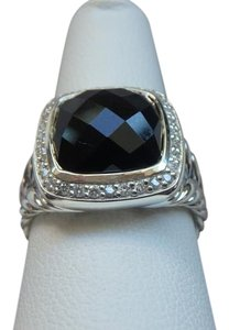David Yurman 11mm Albion Ring with Onyx and Diamonds size 6