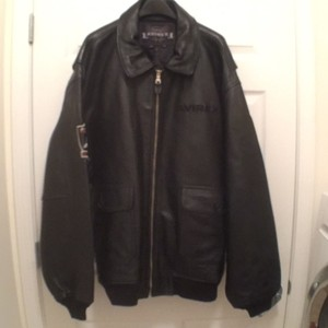 AVIREX Leather Bomber Black Red Silver Leather Jacket