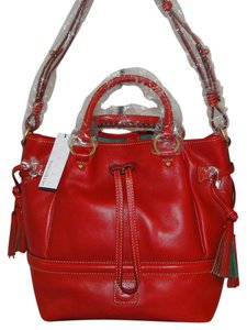 Dooney & Bourke Buckley Florentine Large Drawstring Satchel in Red