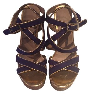REPORT Purple with gold trim on straps. Cork heel Wedges