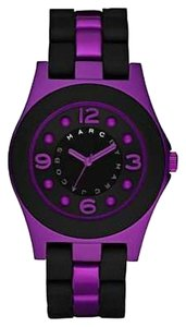 Marc by Marc Jacobs Marc by Marc Jacobs Watch, Women's Pelly Black Silicone Wrapped Purple Aluminum Bracelet MBM3505