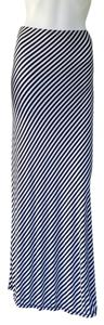 Max Studio Striped Jersey Pull-on Maxi Skirt Navy Blue/White