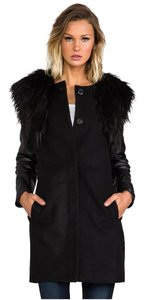 BB Dakota Faux Fur Faux Leather Pea Coat