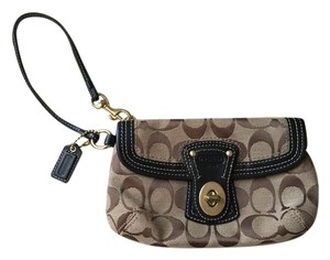 Coach Wristlet Deisgner Brown, beige, Signature Clutch