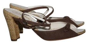 Chanel Canvas Ankle Strap Brown Sandals