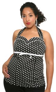 Torrid & Dot Halter 2x 18/20 Top Black & White Polka Dots