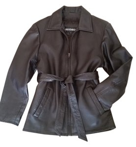 Hudson Jeans Chocolate Leather Leather Bomber Brown Leather Jacket