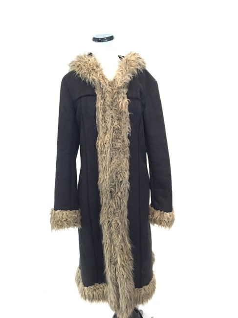 Item - Black Faux Suede and Shearling Long Coat Size 12 (L)