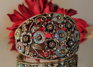 Vintage Brass Plated Bangle with Multi Color Rhinestones and Crystals