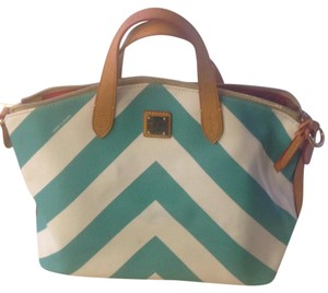 Dooney & Bourke Satchel in Turquoise, White