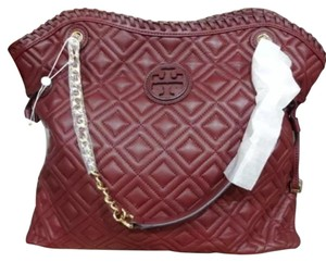 Tory Burch Marion Quilted Slouchy Tote in Deep Berry