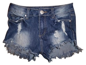 Almost Famous Clothing Stretch High Rise Daisy Dukes Distressed Shorts Blue