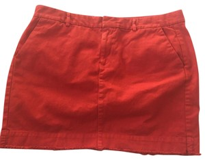 Gap Mini Twill Cotton Mini Skirt Orange