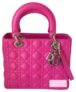 Dior Medium Lady Lambskin Lady Medium Lady 5 Quilts Satchel in Pink Fushia