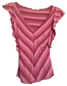 Forever 21 Striped Flutter-sleeve V-neck Casual Going Out Evening Pink Top Magenta stripe
