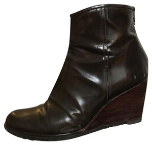 Stuart Weitzman Wedge Leather Chocolate Brown Boots