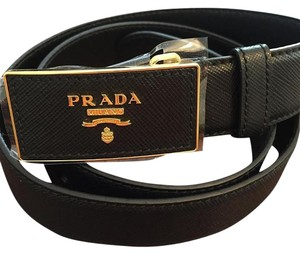 Prada Saffiano Leather Plaque Belt