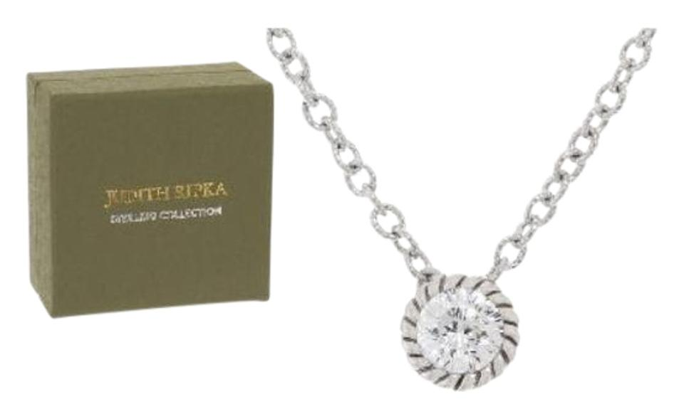 Judith Ripka Sterling Diamonique Stud Earrings And Solitaire Necklace Set 118 Facet Stones