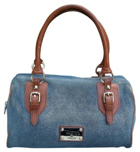 Valentina Sparkle Glitter Suede Speedy Boston Satchel in blue