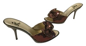 Kharisma Bow Stilettos Floral Pattern Bronze fabric sequin covered metal heels platform Mules