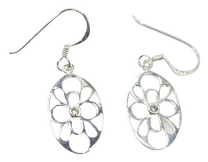 925 Sterling Silver & Clear Crystal Wire Earrings New