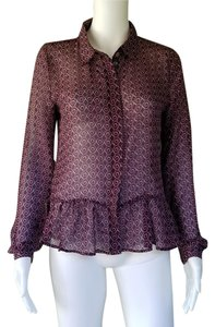 Romeo & Juliet Couture Chiffon Sheer 3/4 Sleeves Top Wine