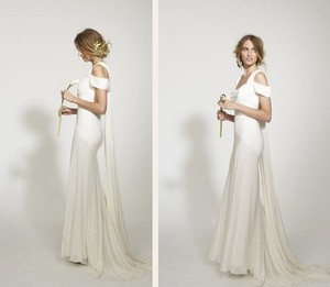 Nicole Miller Draped Georgette Gown Wedding Dress
