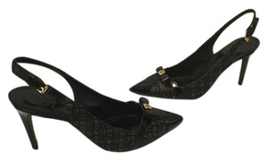 Tory Burch Design On Stilettos Multi color fabric black patent capped toe heels slingback Pumps