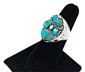 Other Native American Handmade Sterling Silver & Freeform Turquoise