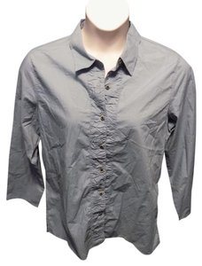 J. Jill Casual Updated Longsleeve Cotton Solid Button Down Shirt Blue