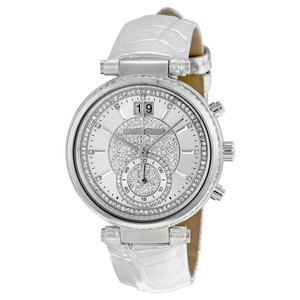 Michael Kors MICHAEL KORS Sawyer Silver Crystal Pave Dial Leather Ladies Watch