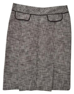 Ann Taylor LOFT Pencil Kick Pleat Skirt Brown, White