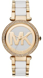 Michael Kors MICHAEL KORS Parker Gold-Tone and White Acetate Ladies Watch
