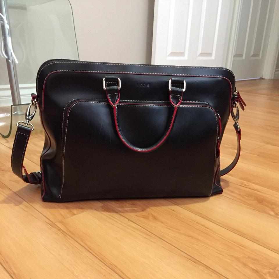 Lodis Audrey Brera Briefcase Black With Red Piping Leather Laptop Bag Tradesy