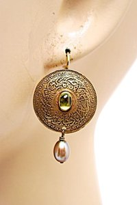 Nan Irwin NAN IRWIN Antique Gold Vermeil Disc Earrings w/Topaz+Pearl