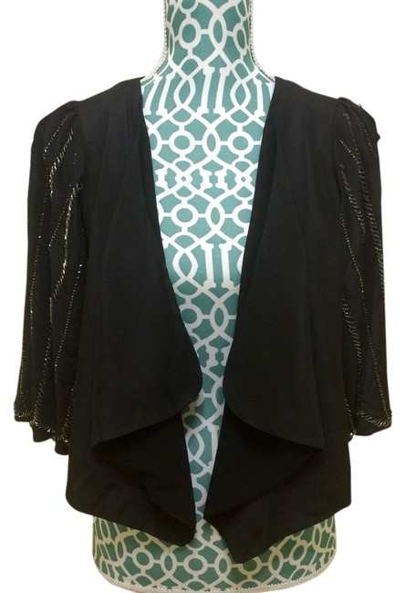 MM Couture Miss Me Beaded Shirt Jacket Bolero Shrug Special Occasion Dress Dressy Glam Fab Women Ladies Misses Elegant Fashion Top Black