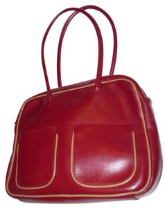 Furla Petite But Roomy Two-way Style Body New Sak's Tags Great Everyday Satchel in dark red leather with tan leather accents
