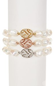 Savvy Cie 18K Gold Plated Sterling Silver Pearl Bracelet - Set of 3