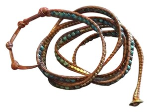 Chan Luu tap leather bracelet with turquoise and assorted stones. Very goo condiotion. Nrevet worn,