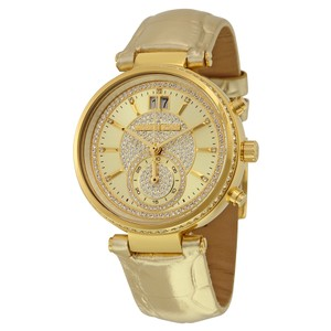 Michael Kors MICHAEL KORS Sawyer Champagne Crystal Pave Dial Leather Ladies Watch