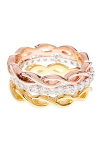 Savvy Cie 18K Gold Plated Tricolor Infinity CZ Ring - Set of 3