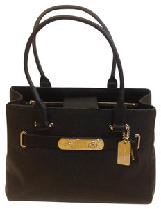 Coach Swagger Pebble Carryall Tote Satchel in Black
