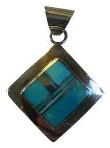 Anthropologie Sterling Silver and Turquoise Square Pendant 3/4