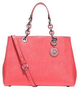 Michael Kors Cynthia Satchel in Coral/Silver