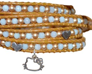 Chan Luu GEMSTONE SWARVOSKI HELLO KITTY CHARM LEATHER WRAP CUFF BRACELET $325