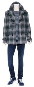 Burberry Mens Check Pea Coat