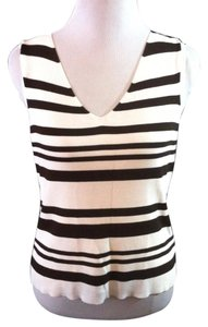 Worthington Pullover Sleeveless Striped V-neck Casual Top White and Dark Brown
